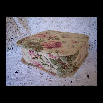 Vintage 1940's era cotton quilted ROSES fabric Hankie Box ~ Handkerchief Box storage, Vanity