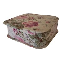 Vintage 1940's era cotton quilted ROSES fabric Hankie Box ~ Handkerchief Box storage, Vanity