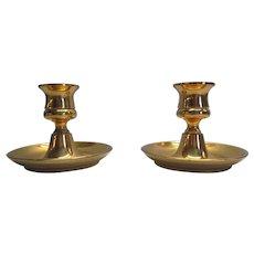 Vintage Solid Brass Single Candlestick Holders England