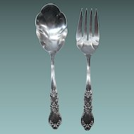Silverplate Serving Fork and Scalloped Spoon Heritage by Rogers Bros.