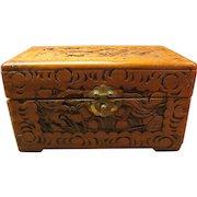 Hand Carved Wood Box, Tramp Art
