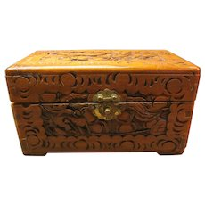 Hand Carved Wood Box, Tramp Art