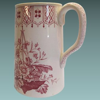 Red Transfer-ware Pottery Milk Pitcher by C. &. H. Primula