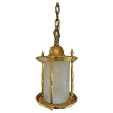 Brass Hanging  Lantern With Etched Frosted Glass - Red Tag Sale Item