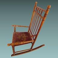 Child's spool Rocking Chair Wood, Cloth Seat