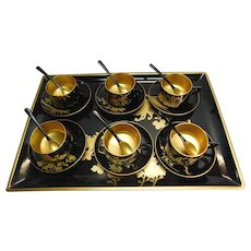 Black and Gold Lacquerware Teacups, Saucers, Spoons and Tray Japan