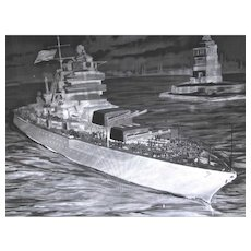 Large Museum Quality Painting On A Glass Negative With Navy Ship, Statue Of Liberty