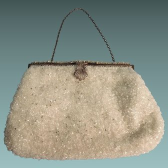 Evening Purse or Clutch with Shimmering Beads, Faux Pearl Frame and Brass France