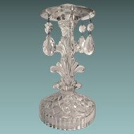 Crystal Glass Candlestick Holder With Teardrop Prisms