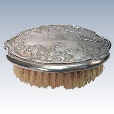 Silver-plate Hair Brush With High Relief Cherubs Monogrammed DSCO #52