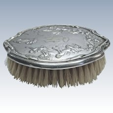 Silver-plate Hair Brush With High Relief Cherubs Monogrammed DSCO #52