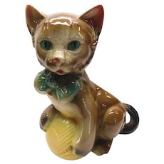 Royal Copley Whimsical Kitten Planter With Ball Of Yarn