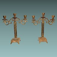 Marble And Bronze Ornate Candlestick Set Made In Israel