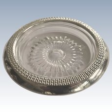 Sterling Silver and Glass Coaster