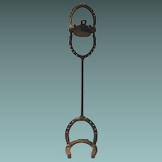Ash Tray Stand Cast Iron Hand Wrought With Horseshoes