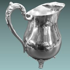Silverplate Ice Pitcher With Lip, Rogers Silver Co
