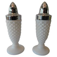 Milk Glass Salt and Pepper Shakers Hobnail Pattern