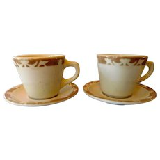 """Syracuse China Restaurant Ware Coffee Cups and Sauces (2) """"Nutmeg"""""""