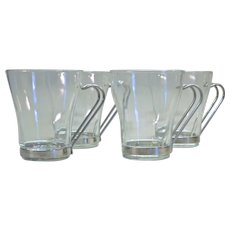 Clear Glass Coffee Mugs With Removable Metal Handle
