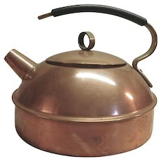 Copper and Brass Tea Kettle With Black Handle