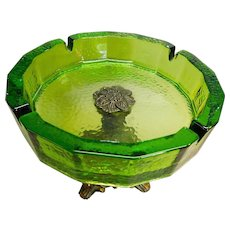 Green Glass Cigar Ash Tray With Ornate Metal Pedestal Base