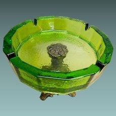 Green Glass Cigar Ash Tray With Ornate Metal Pedestal Base