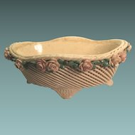 Very Old Italy Footed  Majolica Fruit Basket Roses, Leaves