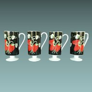 "4 Chocolate or Coffee Cups ""Italian Strawberry"" by Mann of Japan"