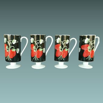 """4 Chocolate or Coffee Cups """"Italian Strawberry"""" by Mann of Japan"""