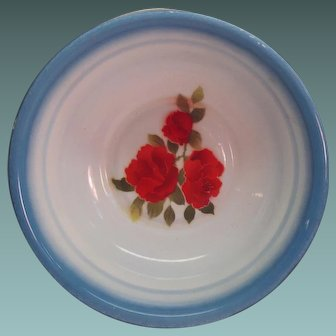 2 Vintage Bowls Enamel Ware, Beautiful Handpainted Red Roses By Diamond