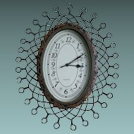 Retro Quartz Clock With Twisted Wire Design