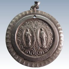 Sterling Religious Medal Christ And Mary