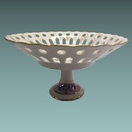 Victorian Style Compote Lustre Ware With Reticulated Design And Pedestal Stand
