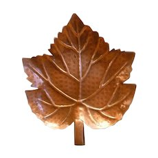 Solid Copper Trinket Dish Hand Wrought Leaf