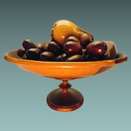 Wooden Pedestal Fruit Bowl With Handcarved Pieces