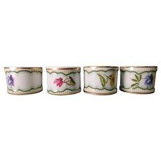 Porcelain  Napkin Rings (4) Floral Design Made In Japan