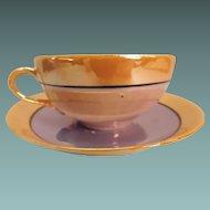 Blue and Orange Lustre Ware Teacup and Saucer Japan
