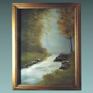 Oil Painting On Canvas Landscape Fall Scene Signed Smith