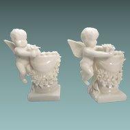 Porcelain Cherub Angel Candlestick Holders Ornate