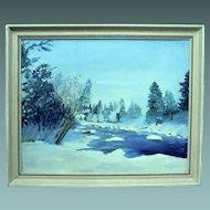 Winter Landscape Scene Oil On Board Painting Signed