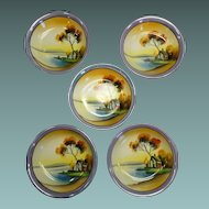 Vintage Dessert Bowl (s) 5 Lustreware Handpainted Chikaramachi Japan