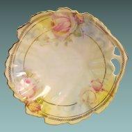Porcelain Dish Leaf Shape with Floral Design and Pierced Handle Royal Ruddlstadt Prussia