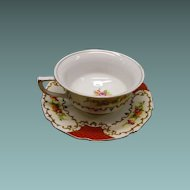 Porcelain Teacup With Saucer Floral and Scroll Design Japan