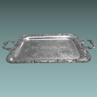 Silverplate Double Handle Tray With Grape Relief By Gotham