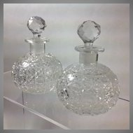 Pair Victorian Cut Glass Cologne Bottles