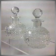 Pair Victorian Cut Glass Cologne Bottles