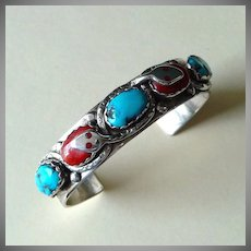 Native American Sterling Cuff Bracelet, Coral, Turquoise, Signed Effie C. Zuni
