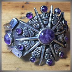 Reserved for Stephanie Signed William Spratling Amethyst Aztec Sun Cuff Bracelet ca. 1940 Heavy Sterling Silver