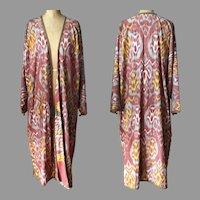Vintage Uzbek Silk Ikat Chapan Robe
