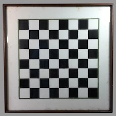 Antique Folk Art Painted Milk Glass Game Board Checkers Chess
